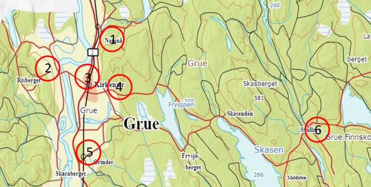 Oversiktsbilde over ledige tomter i Grue