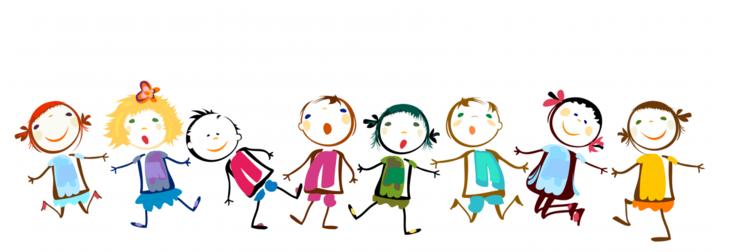 Glade barn på rekke