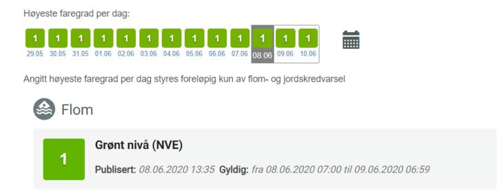 Grønt farenivå 8. juni