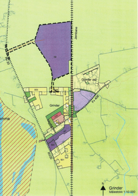 Kart over Grindermoen Næringsområde